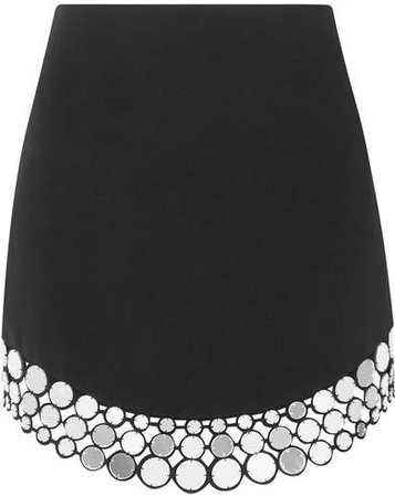 Embellished Crepe Mini Skirt - Black