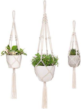 Amazon.com: Mkono Macrame Plant Hangers 3 Different Sizes Hanging Planter for Indoor Outdoor Flower Pot Holder Boho Home Decor: Garden & Outdoor