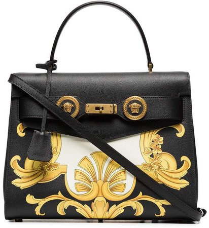 black, white and yellow barocco print icon leather bag