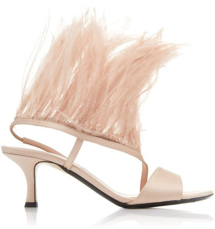 Feather Satin Sandals