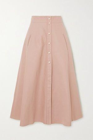 Beige Liv cotton-twill midi skirt | Anna Mason | NET-A-PORTER