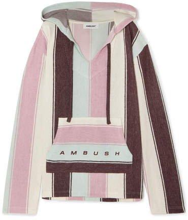Baja Striped Cotton-blend Hoodie - Pink