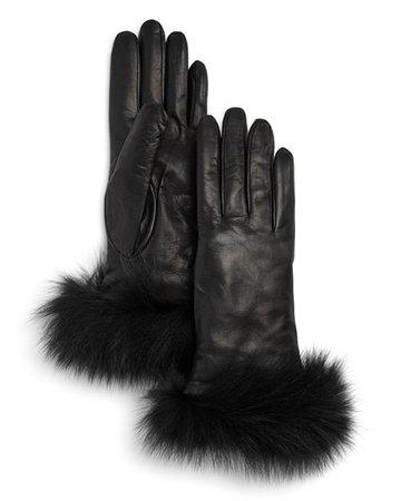 Bloomingdale's Fox-Fur Trimmed Leather Gloves - 100% Exclusive   Bloomingdale's