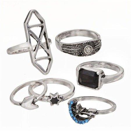Mudd Star & Moon Ring Set