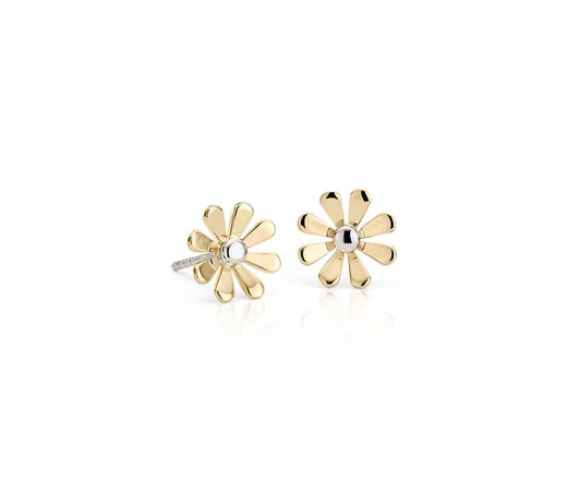Daisy Stud Earrings in 14k Yellow and White Gold | Blue Nile