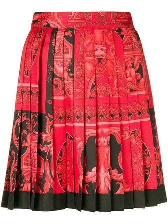 Versace Baroque-print pleated skirt - Red