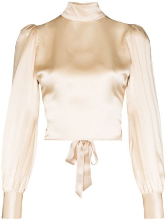 Reformation Cielo Gathered silk-satin Blouse - Farfetch