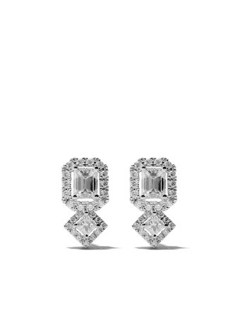 As29 18Kt White Gold Mye Halo Diamond Studs Earrings MYE107ER Silver   Farfetch