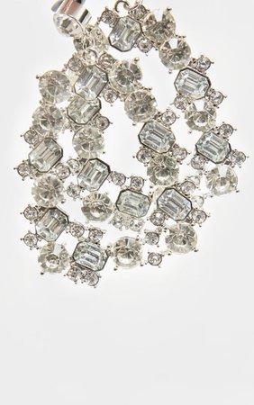 Silver Crystal Door Knocker Earrings | PrettyLittleThing USA