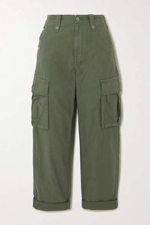 Interlude Cotton Cargo Pants - Green