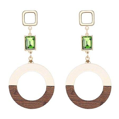 Geometric Drop Earrings, Bohemian Wood Hoop Earrings for Women, Brown and White: Clothing