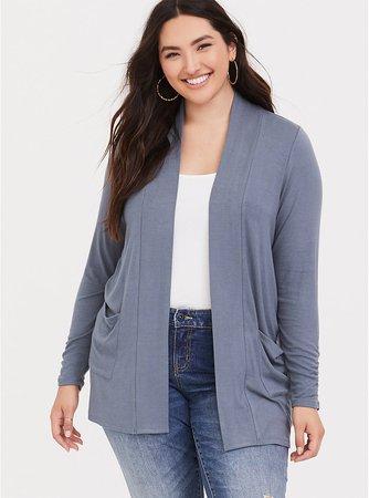 Stone Grey Jersey Cardigan - Plus Size | Torrid