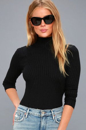 Trendy Black Long Sleeve Bodysuit - Mock Neck Bodysuit - Lulus