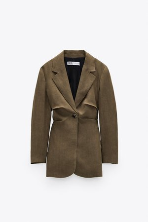 TAILORED LINEN BLAZER | ZARA United States brown