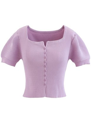Short Sleeves Button Down Fitted Knit Top in Lilac - Retro, Indie and Unique Fashion