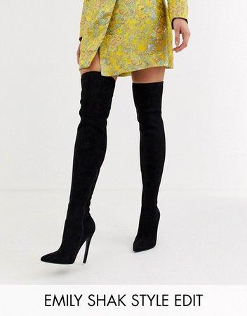 ASOS DESIGN Kendra stiletto thigh high boots in black   ASOS