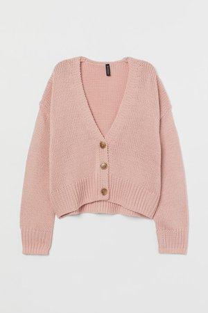 Просторный кардиган - Розовый - Женщины   H&M RU