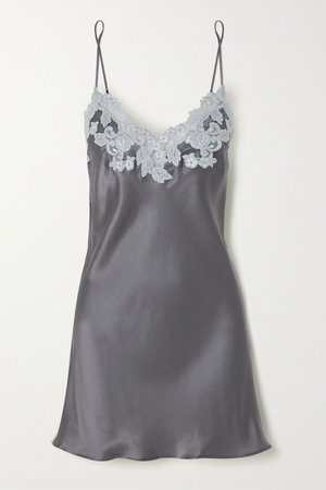 Gray Lace-trimmed silk-charmeuse chemise | La Perla | NET-A-PORTER