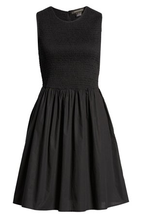 French Connection Rhodes Smocked Sleeveless Cotton Fit & Flare Dress | Nordstrom