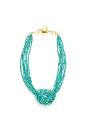 Timeless Pearly Knot Turquoise Necklace With Magnetic Clasp