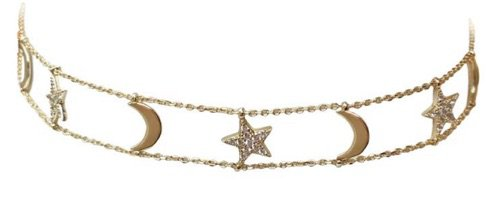 Gold Star&Moon Choker Necklace