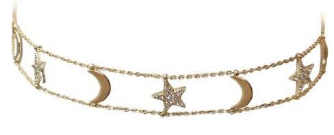 Gold Star&Moon Choker Necklace
