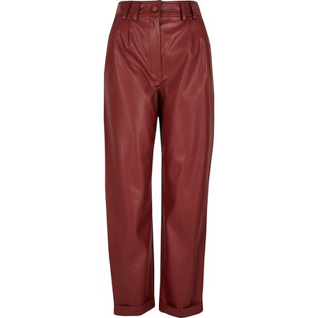 Red faux leather high rise cigarette trousers | River Island