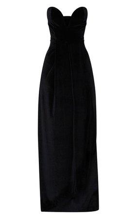 Black Velvet Draped Wrap Bandeau Maxi Dress | PrettyLittleThing USA