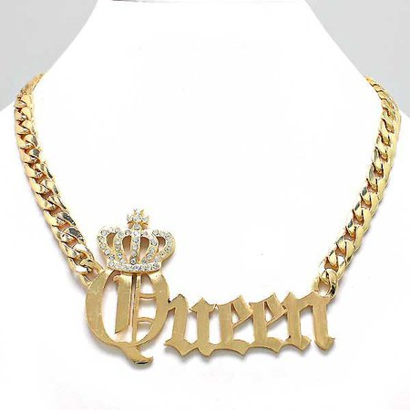 Queen Necklace / PrissyBliss   Chunky gold chain necklace, Gold charm necklace, Chunky gold chain