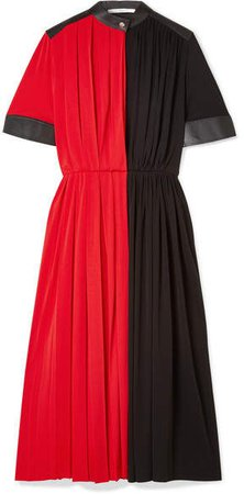 Leather-paneled Pleated Stretch-jersey Midi Dress - Red