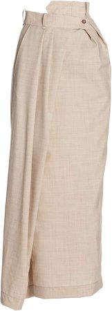 A.W.A.K.E. MODE Asymmetric Pleated Wool Maxi Skirt
