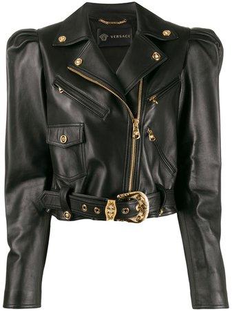 Black Versace Cropped Biker Jacket | Farfetch.com