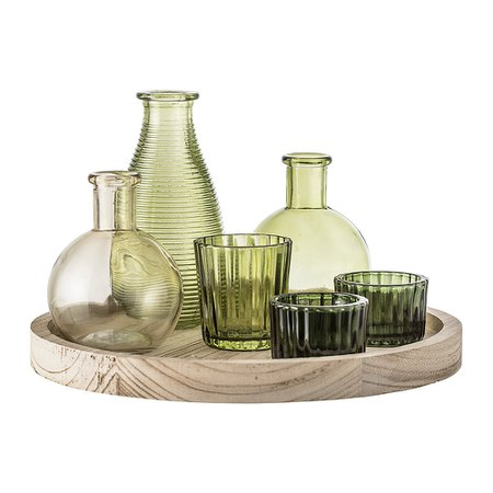 Bloomingville Green Glass Votive Collection with Wooden Tray