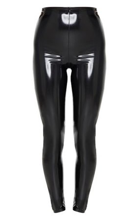 Black Vinyl Leggings  Trousers   PrettyLittleThing