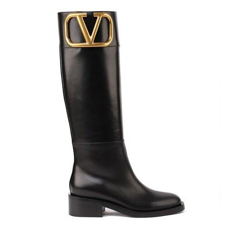 Valentino Garavani Vlogo Leather Boots