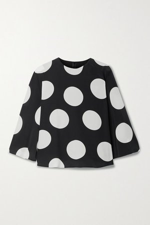 Cape-effect Polka-dot Silk-georgette Blouse - Black