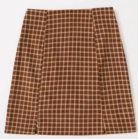 brown plaid corduroy skirt