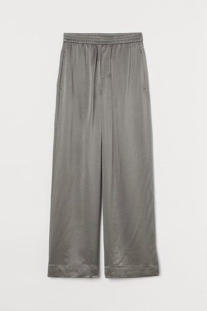 Wide-leg Silk Pants - Green