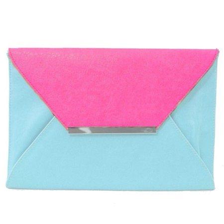bag, pink, baby blue, clutch, clutch - Wheretoget