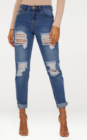 Mid Wash Extreme Ripped Turn Up Mom Jeans | PrettyLittleThing