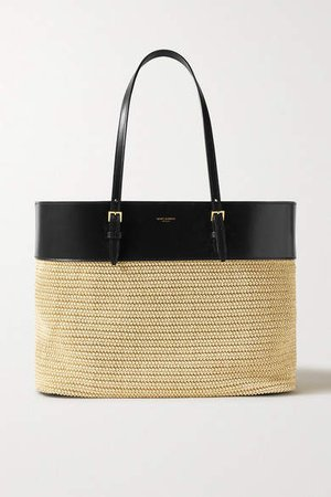 Leather And Raffia Tote - Neutral
