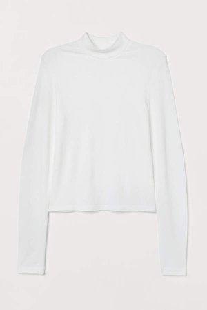Ribbed Mock-turtleneck Top - White