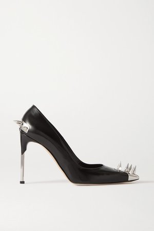 Spiked Leather Pumps - Black