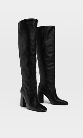 High-heel leather boots - Women's Just in | Stradivarius United States