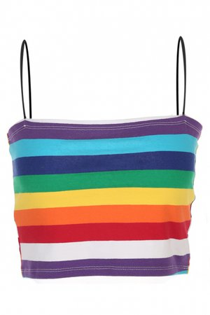Summer Hot Fashion Colorful Striped Printed Cropped Cami Top - Beautifulhalo.com