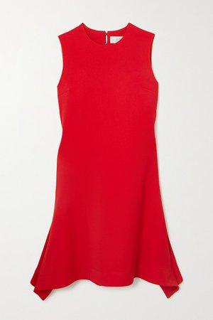 Asymmetric Draped Crepe Dress - Red