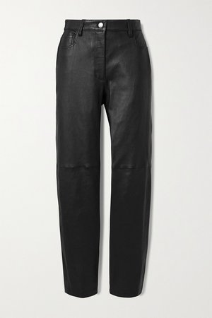 Black Cindy paneled leather straight-leg pants | Joseph | NET-A-PORTER