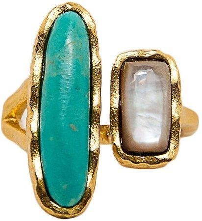 Christina Greene Deco Twin Stone Open Ring