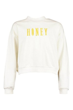 Petite Honey Slogan Embroidered Sweat | boohoo