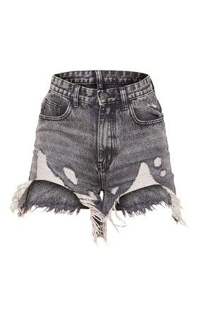 Grey Wash Longline Denim Shorts